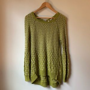 Anthropologie Moth Green and White Knit Sweater